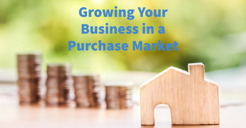 Wooden home from LoanNEX with growing your business in purchase market text