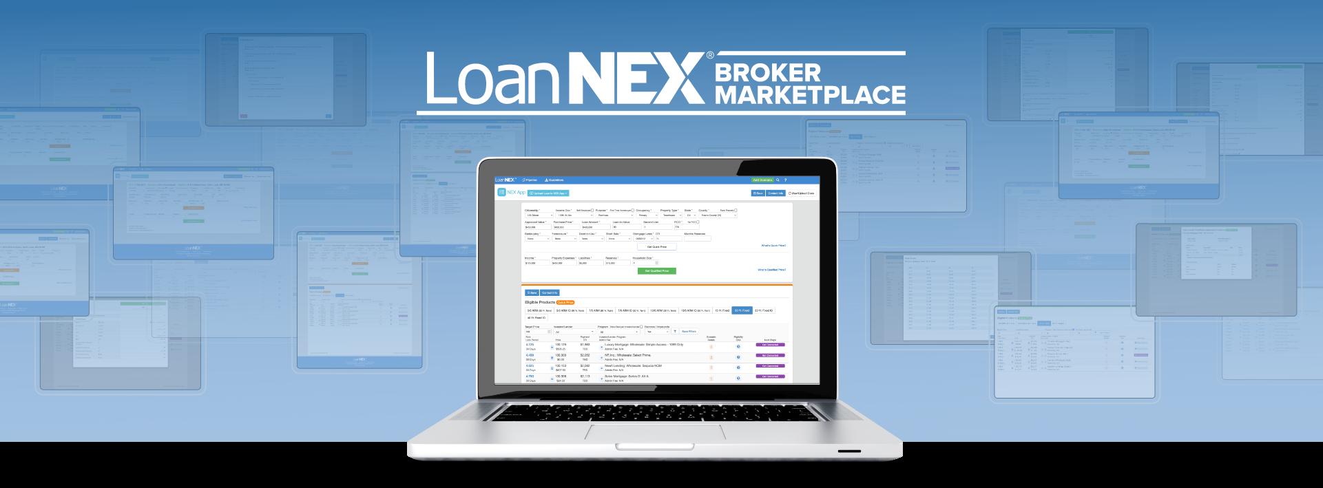 LoanNEX Broker Marketplace Logo with Platform Displaying on Desktop Computer